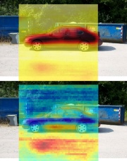 Horizontal-polarization image (top) and polarization-difference image (bottom) of a car overlaid on the optical image